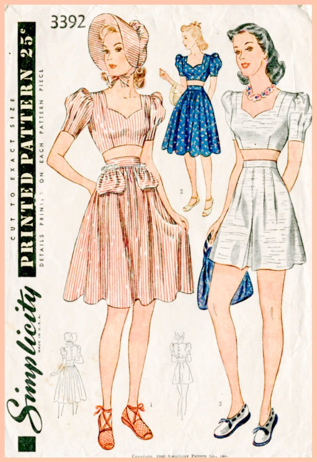Playsuit Pattern Sewing Vintage Sewing Pattern 1940s 40s Crop Top Playsuit Skirt High Etsy
