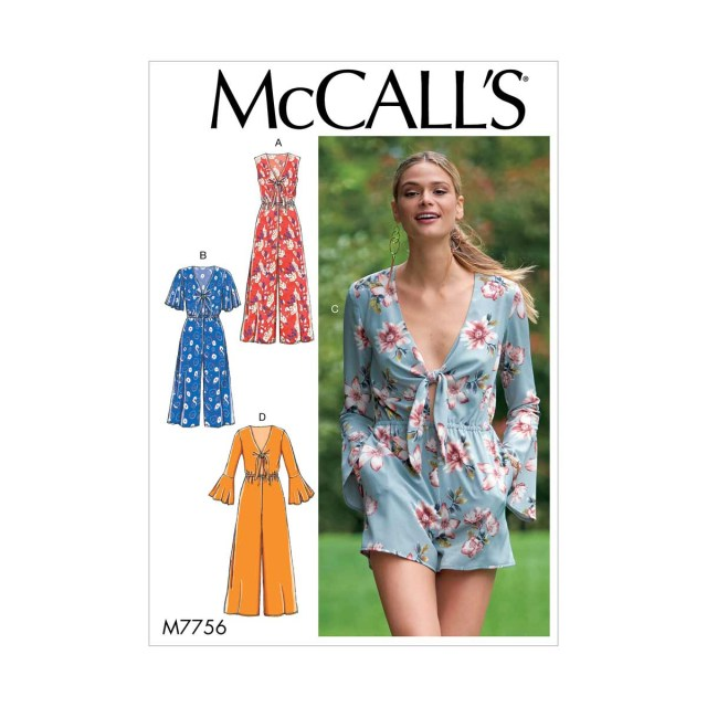 Playsuit Pattern Sewing Womens Tie Front Playsuit And Jumpsuits Mccalls Sewing Pattern