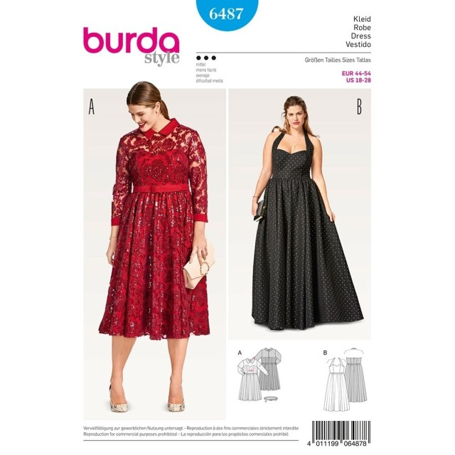 Plus Size Sewing Patterns Womens Plus Size Evening Dress Burda Sewing Pattern 6487 Sew Essential