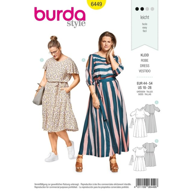 Plus Size Sewing Patterns Womens Plus Size Summer Dress Burda Sewing Pattern 6449 Sew Essential