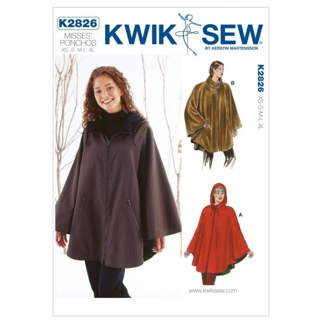 Poncho Sewing Pattern Kwik Sew K2826 Ponchos Sewing Pattern No Size Kwik Sew Patterns