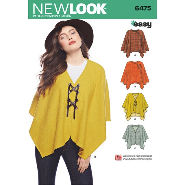 Poncho Sewing Pattern Misses Easy Poncho And Cape New Look Sewing Pattern 6475 Sew Essential