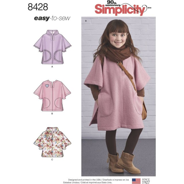 Poncho Sewing Pattern Simplicity Girls Poncho Sewing Pattern 8428 Hobcraft