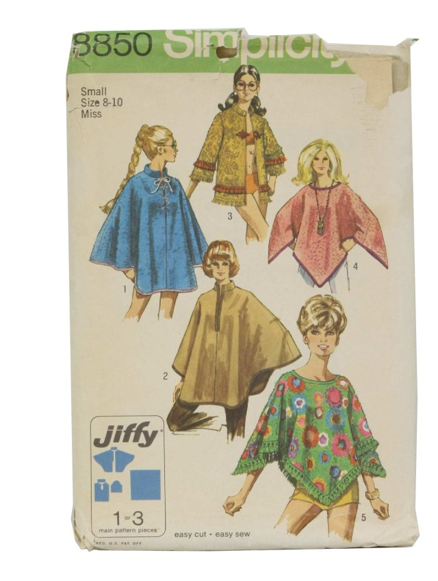 Poncho Sewing Pattern Vintage Simplicity Pattern No8850 70s Sewing Pattern 70s