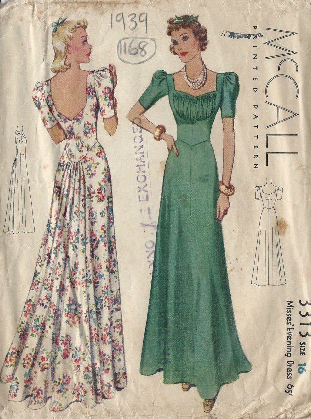 Prom Dress Sewing Patterns 1939 Vintage Sewing Pattern Evening Dress B34 1168 The Vintage