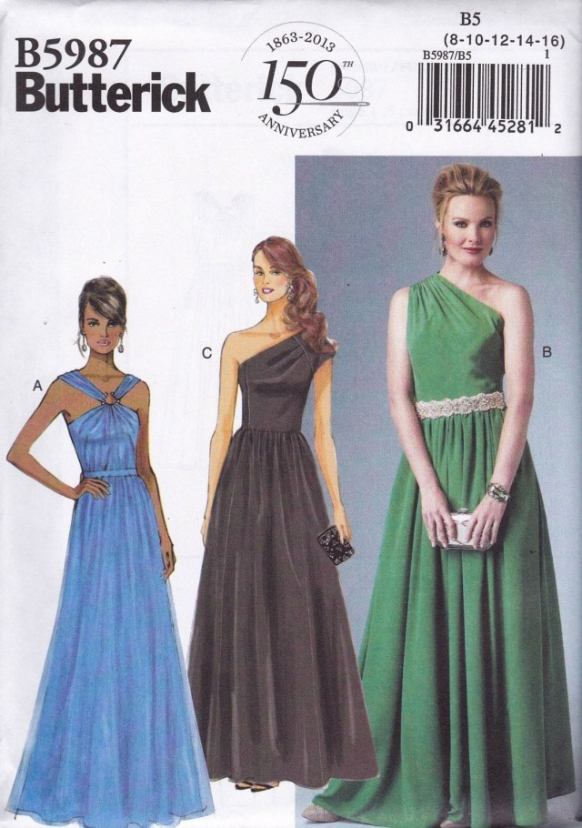 Prom Dress Sewing Patterns Butterick Easy Sewing Pattern Misses Evening Prom Dress 8 24 B5987