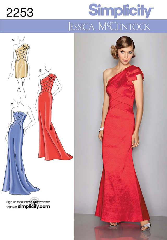 Prom Dress Sewing Patterns Simplicity 2253 Misses Evening Dresses Jessica Mcclintock