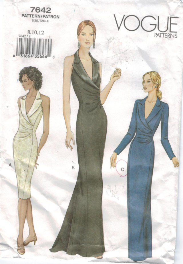 Prom Dress Sewing Patterns Vogue Pattern 7642 Evening Gowns Halter Short And Long Tuxedo Collar