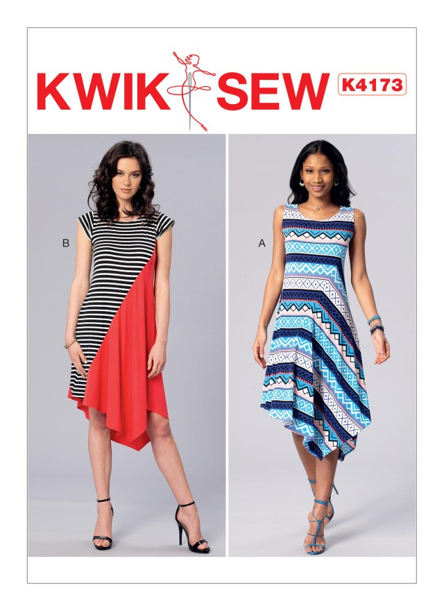 Quick Sew Patterns Kwik Sew 4173 Misses Diagonal Seam Asymmetical Hem Dresses