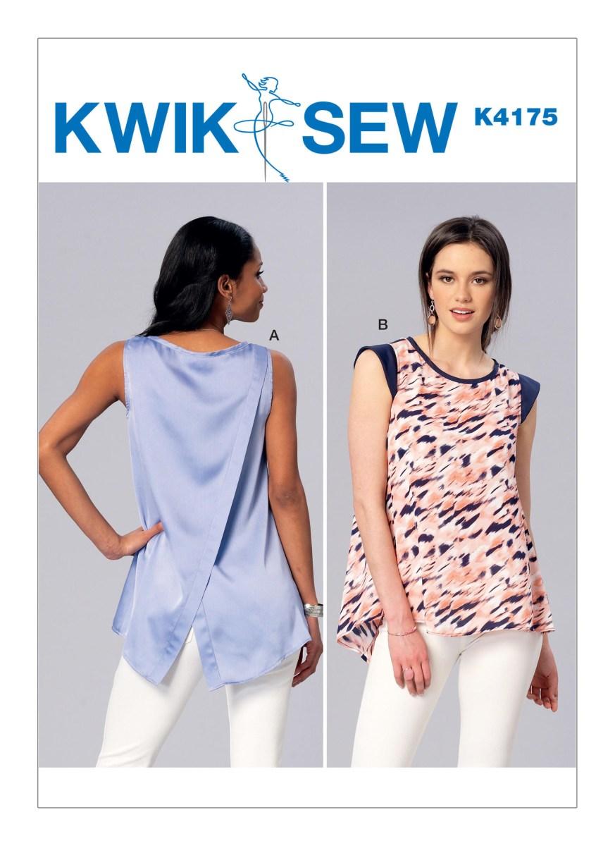 Quick Sew Patterns Kwik Sew 4175 Misses Sleeveless Or Cap Sleeve Tulip Back Tops