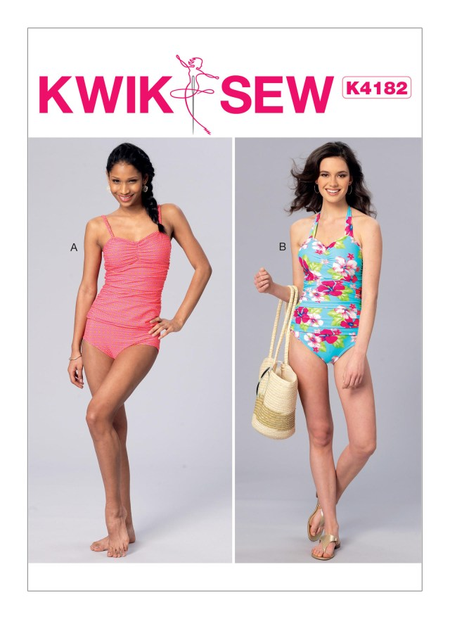 Quick Sew Patterns Kwik Sew 4182 Misses Ruched Tankini And One Piece Halter Swimsuit