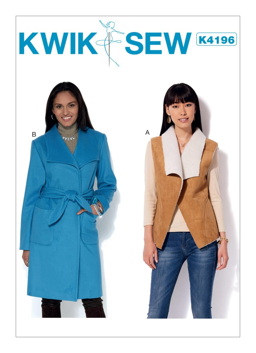 Quick Sew Patterns Kwik Sew 4196 Misses Shawl Collar Vest And Coat With Belt