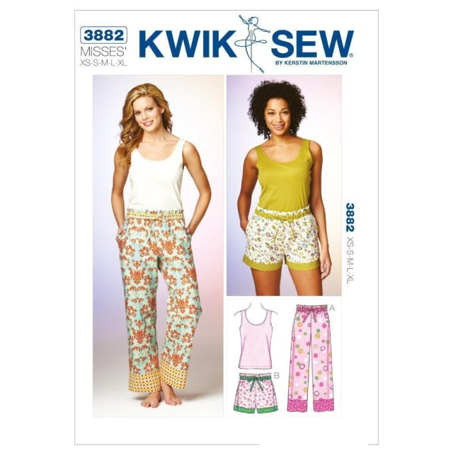 Quick Sew Patterns Kwik Sew Sewing Pattern Misses Sleep Pants Shorts Top Size Xs Xl