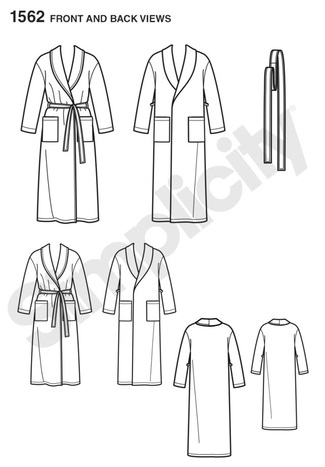 Robe Sewing Pattern 1562 Simplicity Pattern Child S Teens And Adults Dressing Gown And Belt