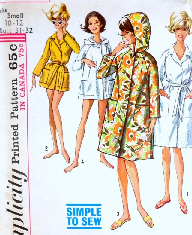 Robe Sewing Pattern 1960s Robe Pattern Simplicity 5965 Simple To Sew Beach Coat Cover Up