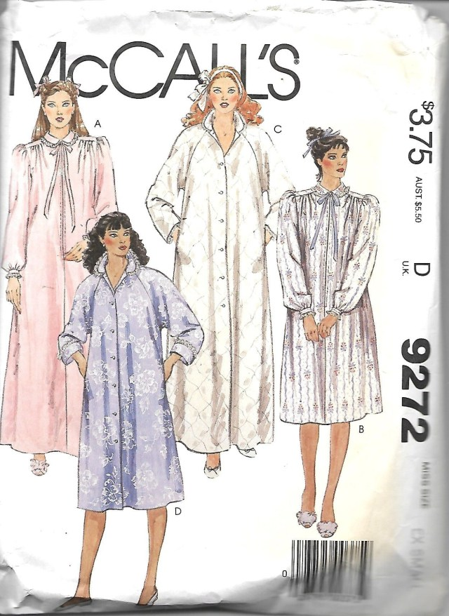Robe Sewing Pattern Mccalls 9272 Misses Front Button Or Zip Front Robes Sewing Pattern