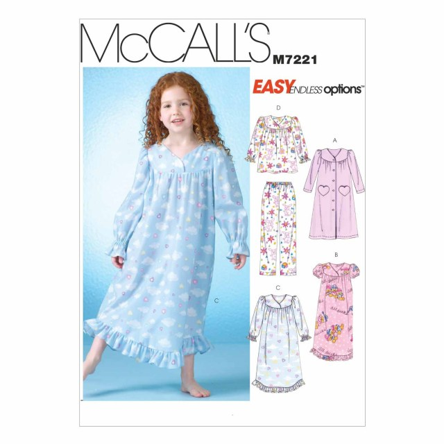 Robe Sewing Pattern Mccalls Sewing Pattern Girls Robe Gowns Top And Pantsm7221age 6 8