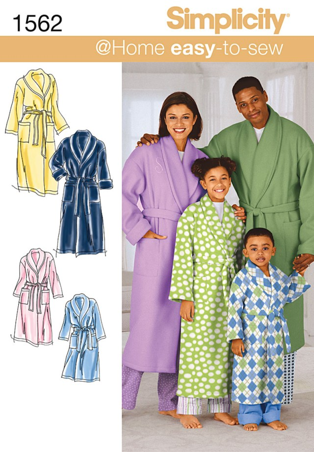 Robe Sewing Pattern Simplicity 1562 Childs Teens And Adults Robe And Belt