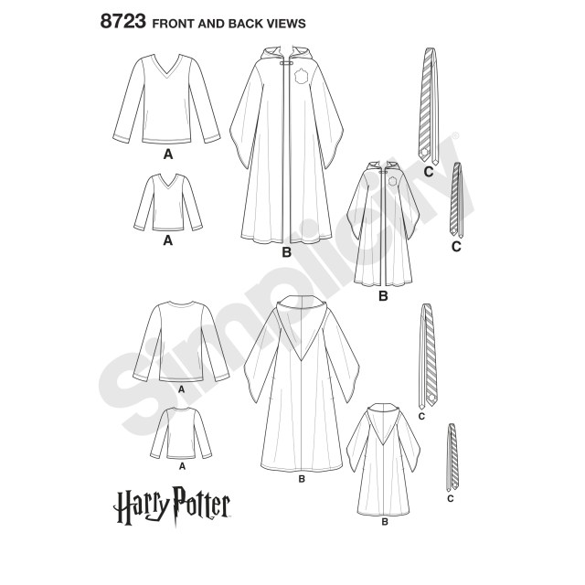 Robe Sewing Pattern Simplicity Pattern 8723 Harry Potter Unisex Costumes