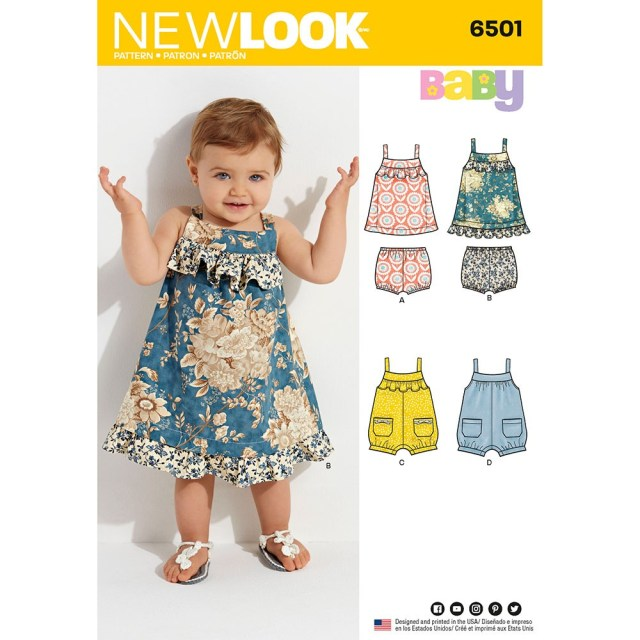 Romper Sewing Pattern Babies Dress And Romper New Look Sewing Pattern 6501 Sew Essential