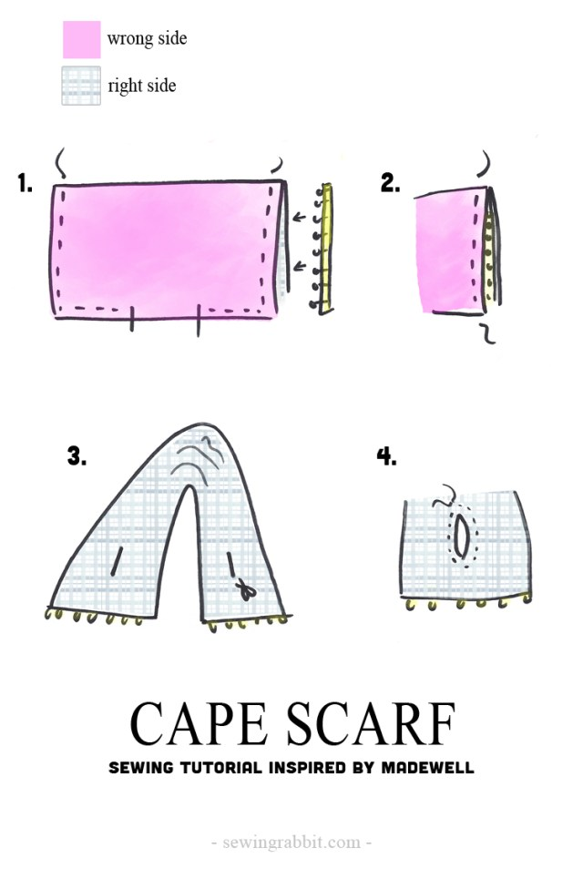 Scarf Sewing Patterns Cape Scarf Diy The Sewing Rabbit