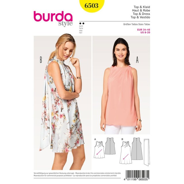 Scarf Sewing Patterns Misses Dress Top And Scarf Burda Sewing Pattern 6503 Sew Essential