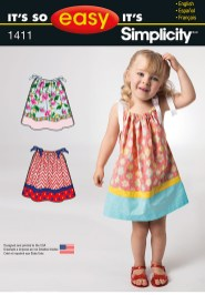 Sewing Pattern Easy Simplicity 1411 Its So Easy Toddlers Dress
