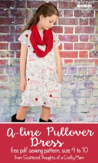 Sewing Pattern For Girl Girls A Line Pullover Dress Free Pattern Size 4 To 10