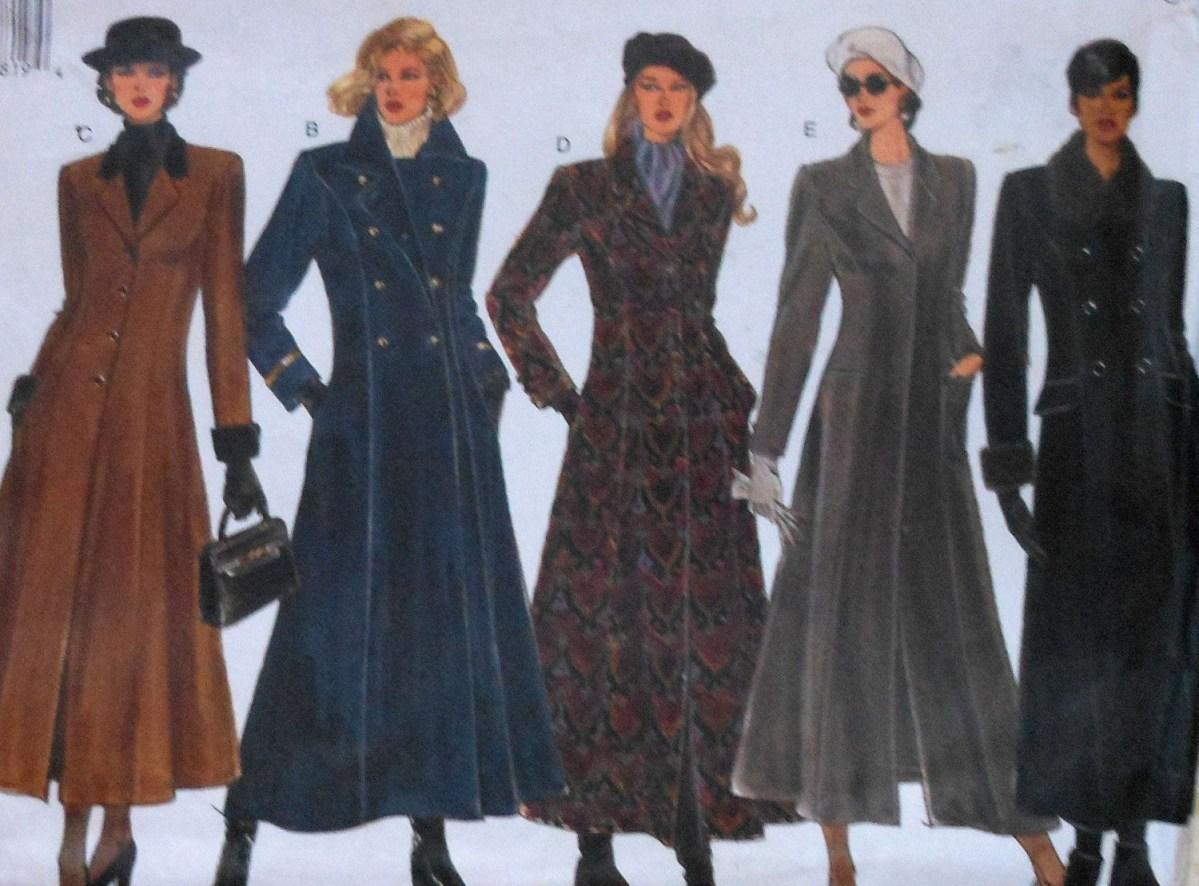 Sewing Pattern Womens Coat Long Womens Coat Sewing Pattern Uncut Vogue 1266 Sizes 12 16