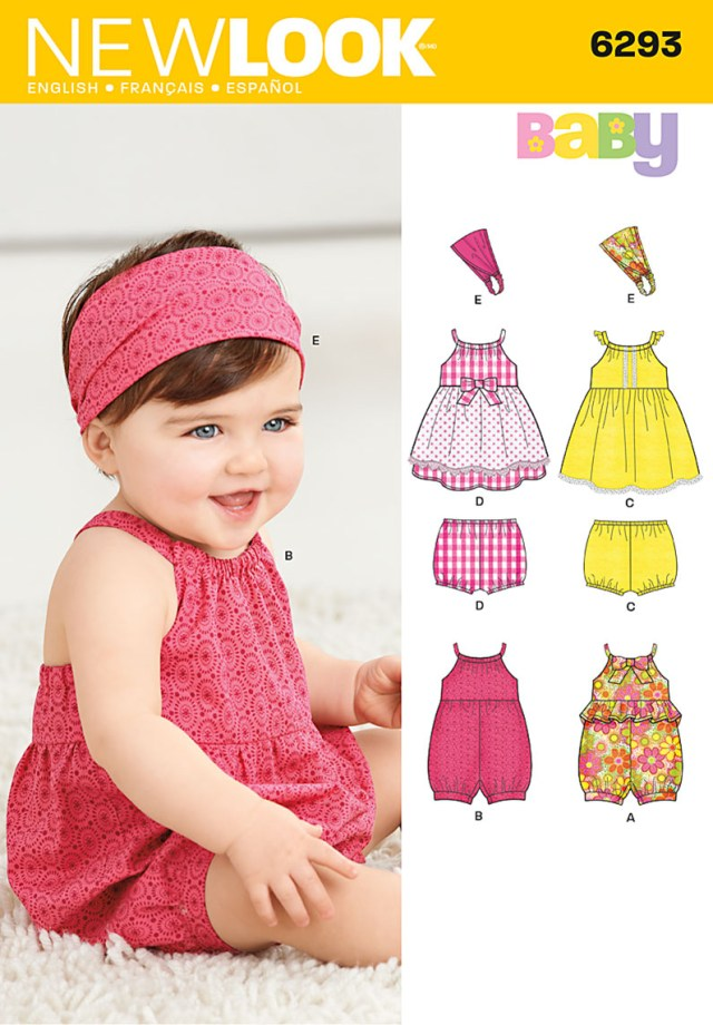 Sewing Patterns For Babies New Look 6293 Babies Romper Dress Knickers And Headband Sewing