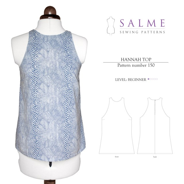 Sewing Patterns For Beginners Salme Sewing Patterns 150 Hannah Top Downloadable Pattern