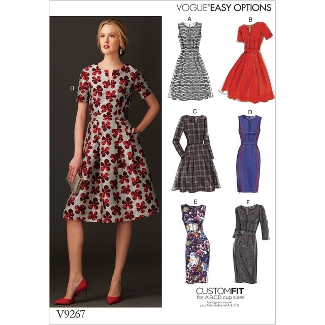 Sewing Patterns For Dresses Misses Fit And Flare Dresses With Waistband And Pockets Vogue Sewing