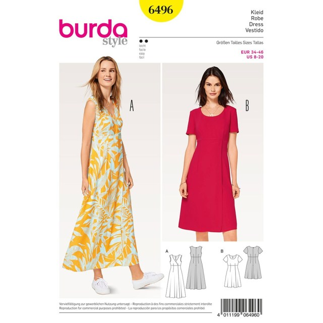 Sewing Patterns For Dresses Misses High Waist Dress Burda Sewing Pattern 6496 Sew Essential