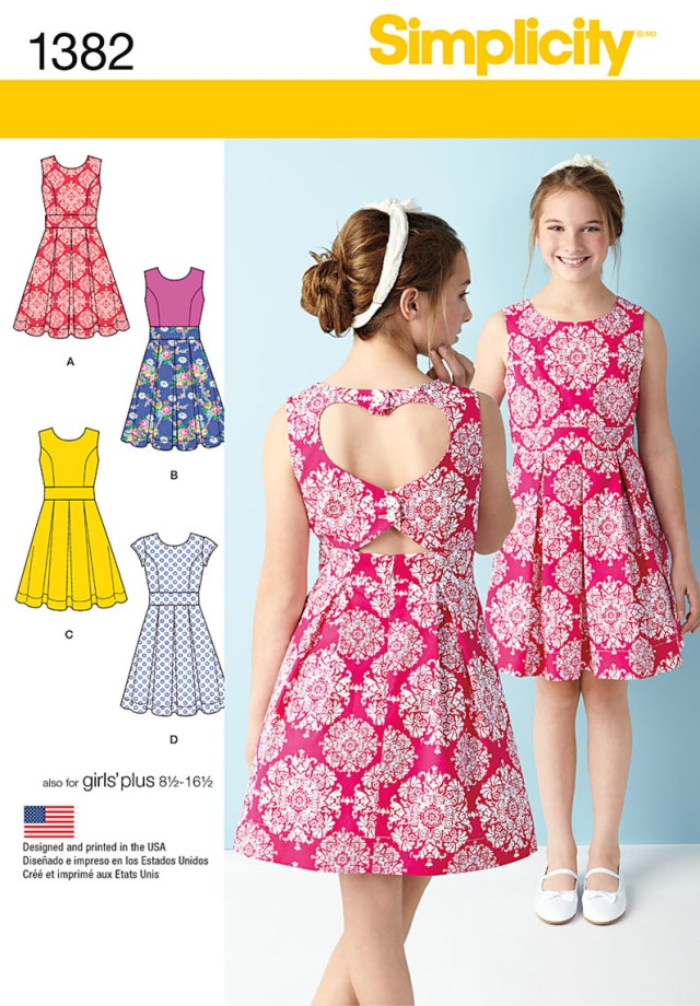 Sewing Patterns For Dresses Simplicity 1382 Girlsgirls Plus Dress With Back Variations