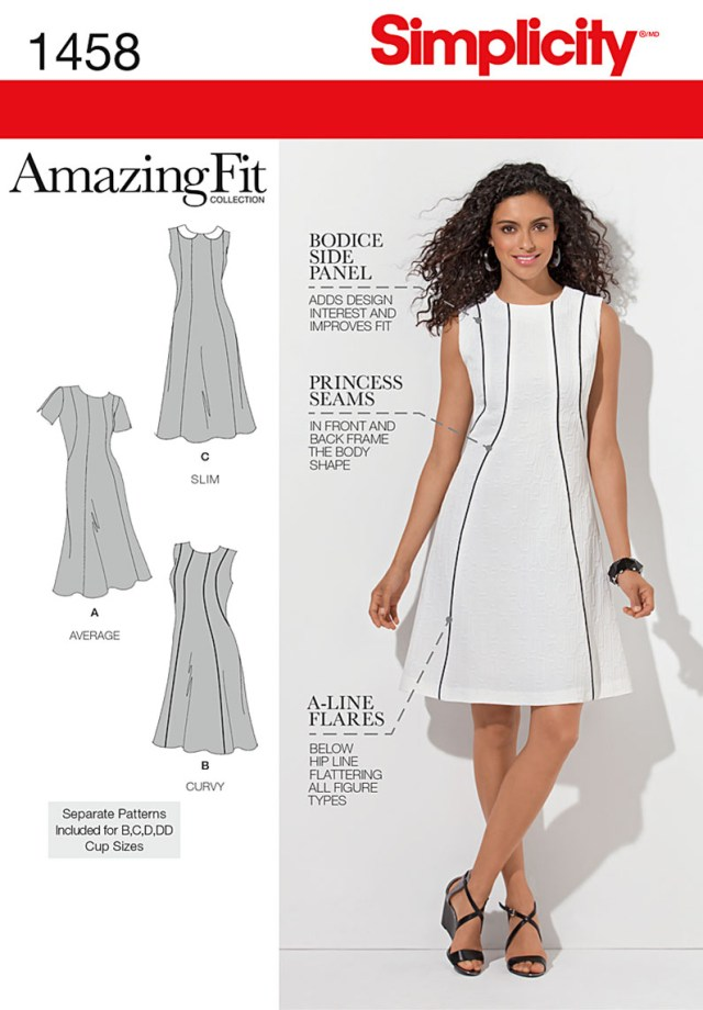 Sewing Patterns For Dresses Simplicity Amazing Fit Misses Plus Size Sewing Pattern 1458 Dress