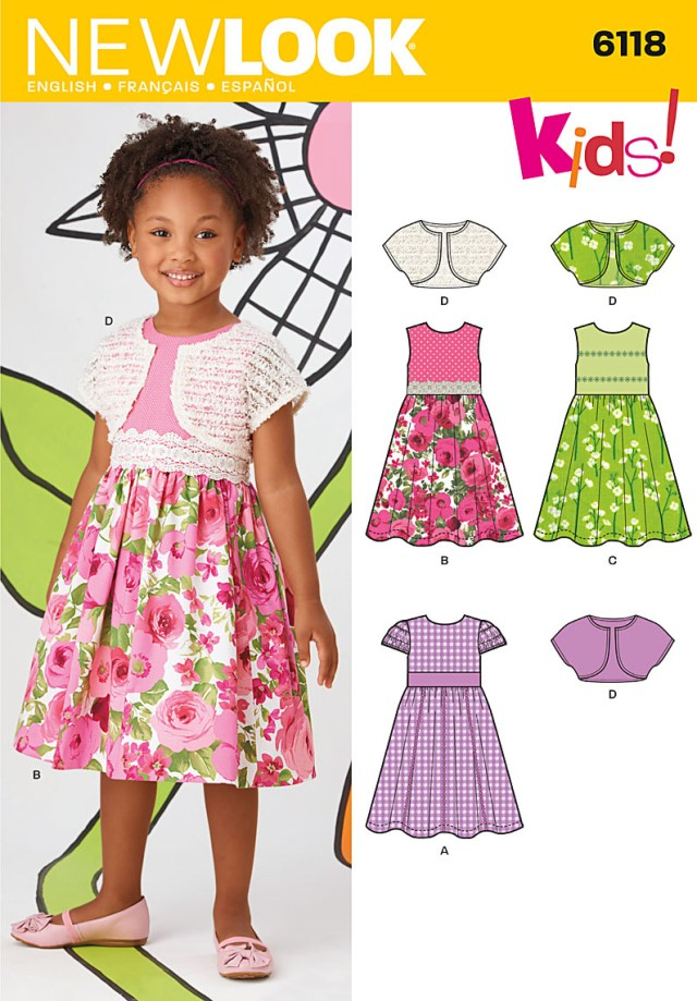Sewing Patterns For Kids New Look 6118 Childrens Dress And Shrug