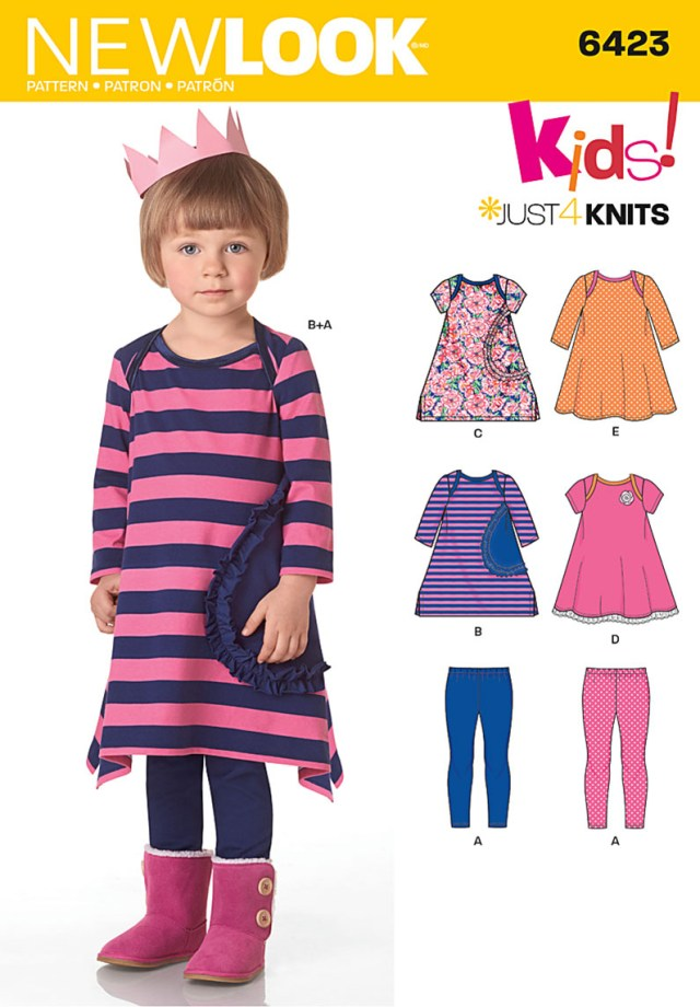 Sewing Patterns For Kids New Look 6423 Toddlers Knit Dresses And Leggings