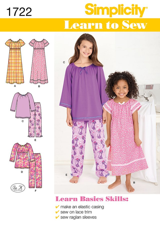 Sewing Patterns For Kids Simplicity 1722 Childrens Sleepwear