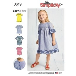 Sewing Patterns Girls Childs Easy To Sew Dresses Simplicity Sewing Pattern 8619 Sew