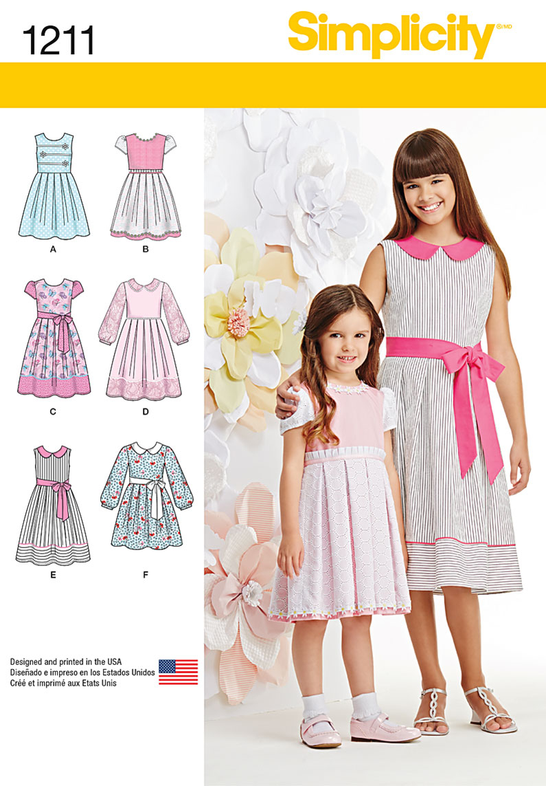 Sewing Patterns Girls Simplicity 1211 Childs And Girls Dress In Two Lengths