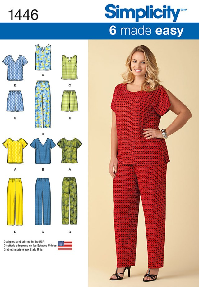 Sewing Patterns Plus Size 1446 Simplicity Pattern Six Made Easy Pull On Tops And Trousers Or