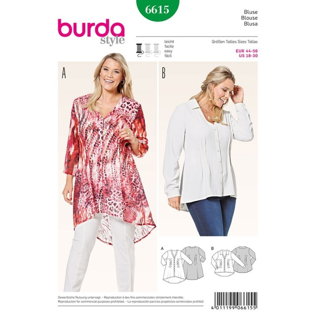 Sewing Patterns Plus Size Misses Plus Size Blouse Burda Sewing Pattern 6615 Sew Essential