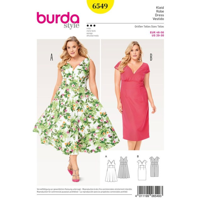 Sewing Patterns Plus Size Misses Plus Size Short Sleeve Dress Burda Sewing Pattern 6549 Sew