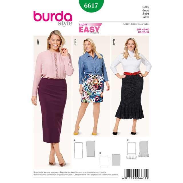 Sewing Patterns Plus Size Misses Plus Size Skirt Burda Sewing Pattern 6617 Sew Essential