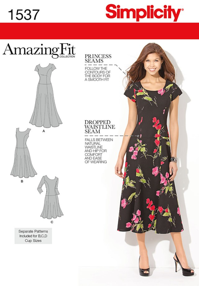 Sewing Patterns Plus Size Simplicity 1537 Misses And Plus Size Amazing Fit Dress