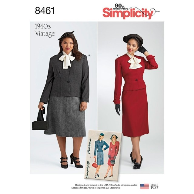 Sewing Patterns Simplicity Misses And Womens Vintage Two Piece Suit And Dickey Simplicity