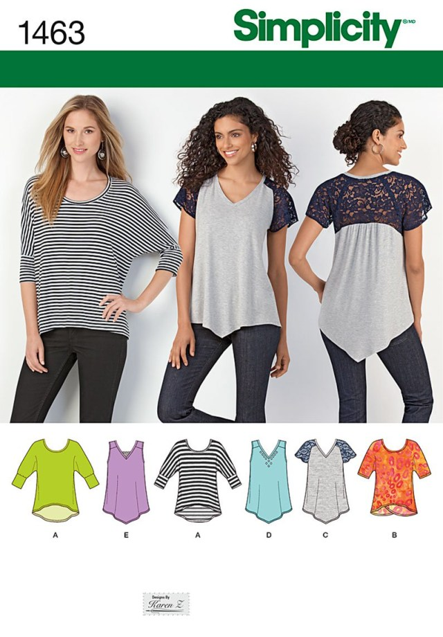 Sewing Patterns Simplicity Simplicity 1463 Misses Knit Tops