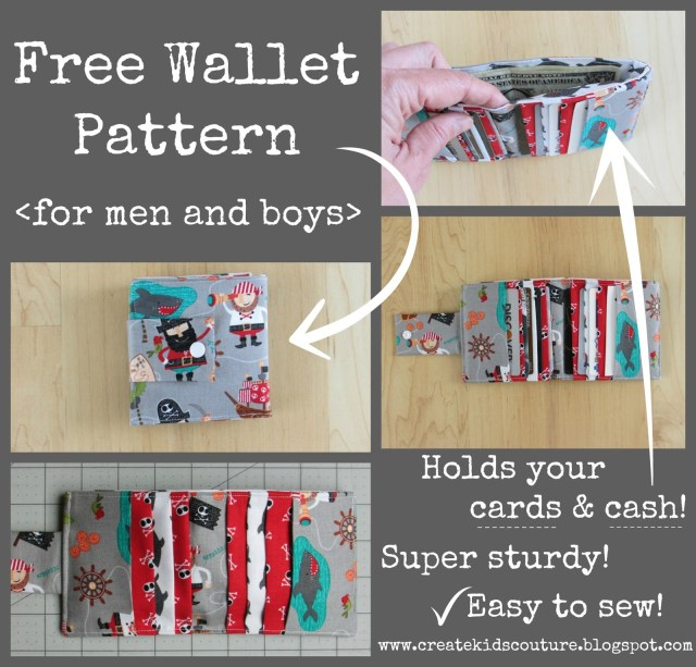 Sewing Wallet Pattern Free Create Kids Couture Hidden Treasure Free Wallet Pattern For Men