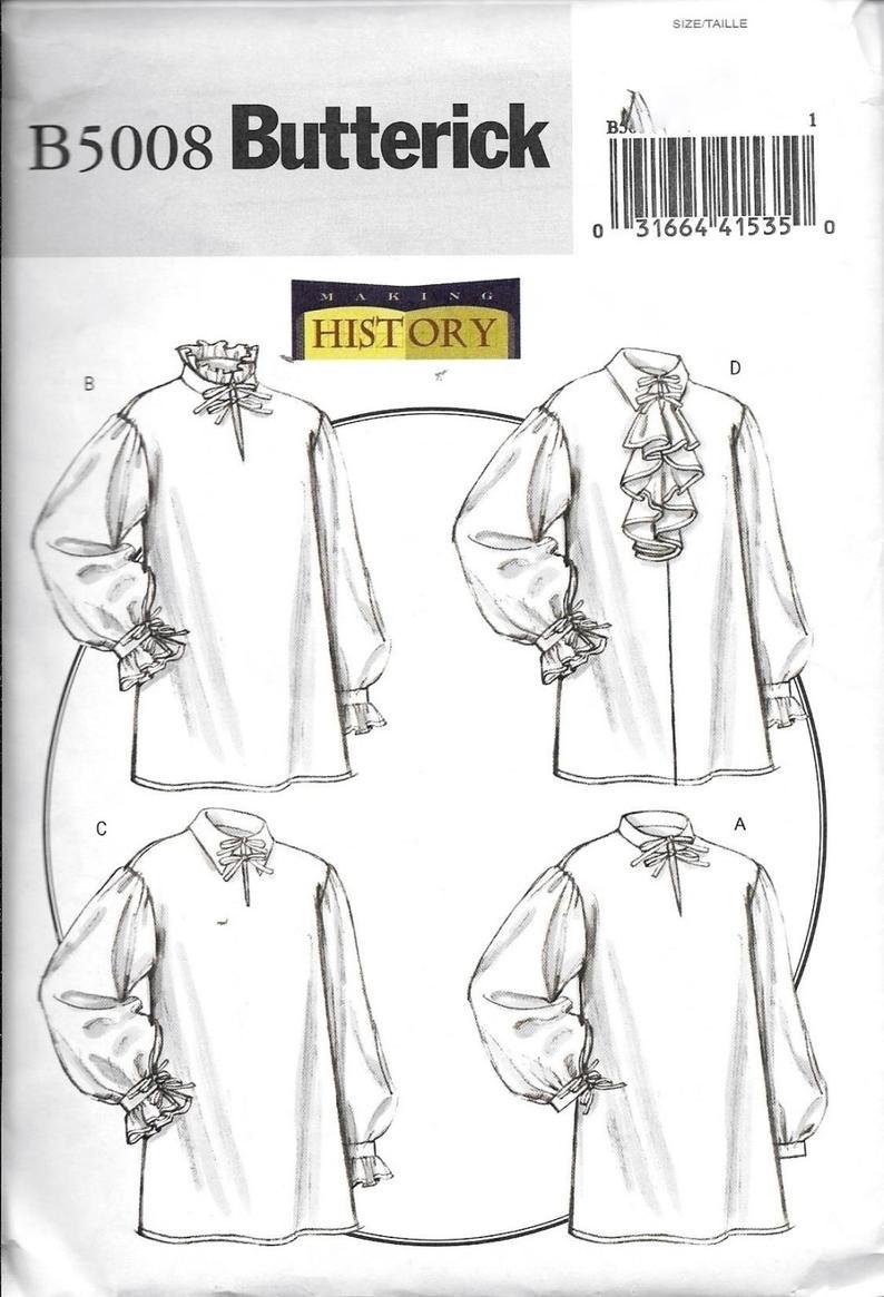 Shirt Sewing Pattern Butterick Making History B5008 Misses Mens Renaissance Or Poet Etsy