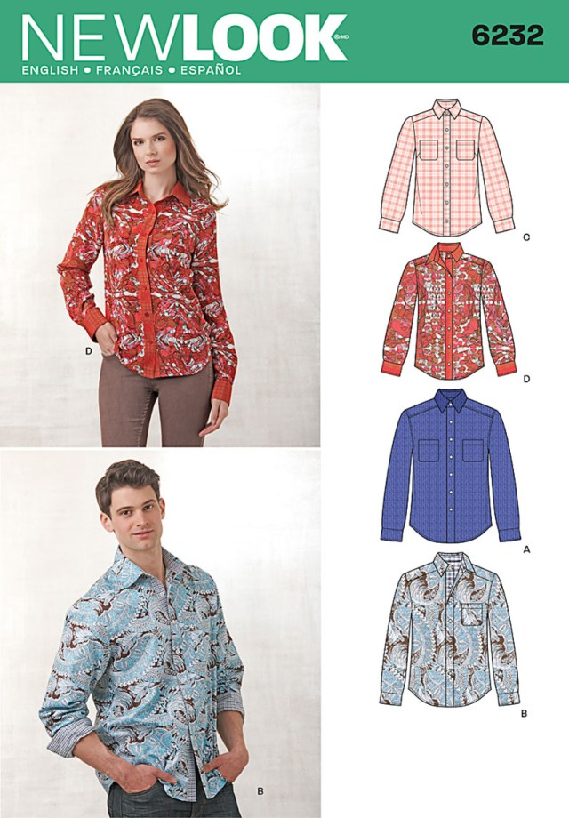 Shirt Sewing Pattern Womens New Look 6232 Misses And Mens Button Down Shirt